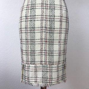 Worthington Plaid Raw Trim Pleated Skirt